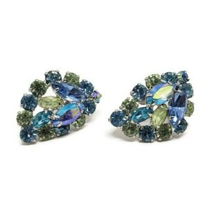 Vintage Weiss Earrings Rhinestone Blue Clip Leaf